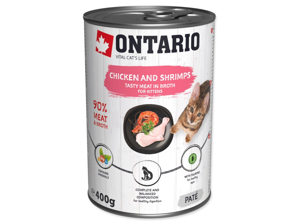 Konzerva ONTARIO Kitten Chicken, Shrimp, Rice and Salmon Oil