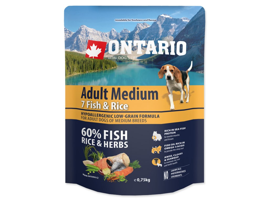 ONTARIO Dog Adult Medium Fish & Rice