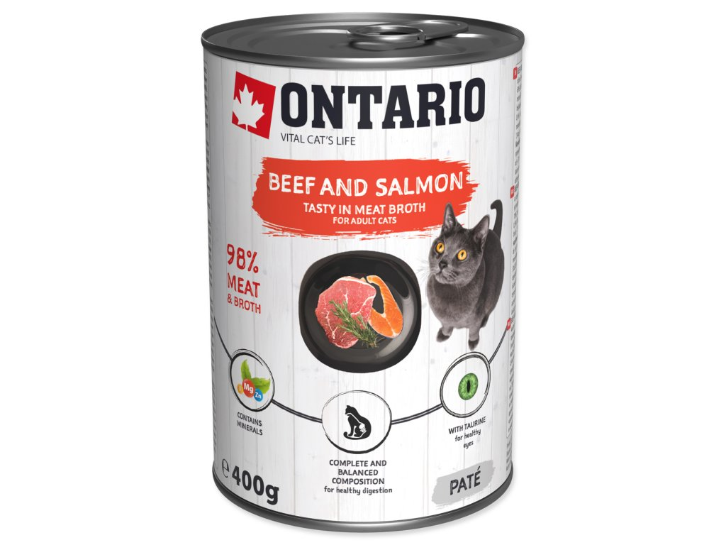 Konzerva ONTARIO Cat Beef, Salmon, Sunflower Oil
