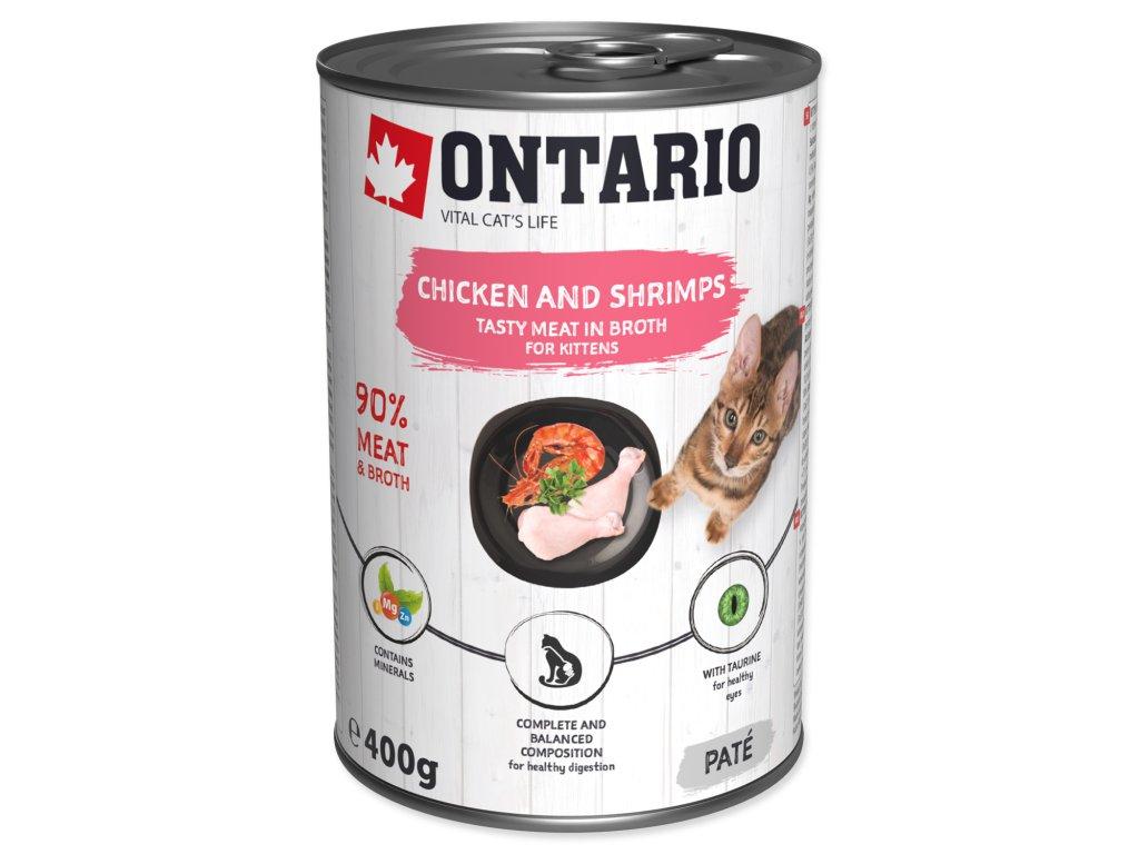 Konzerva ONTARIO Kitten Chicken, Shrimp, Rice and Salmon Oil