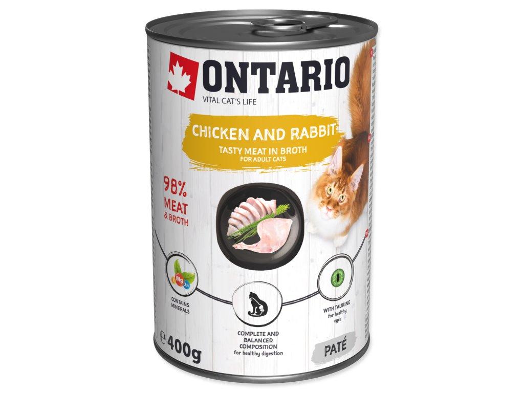 Konzerva ONTARIO Cat Chicken, Rabbit, Salmon Oil