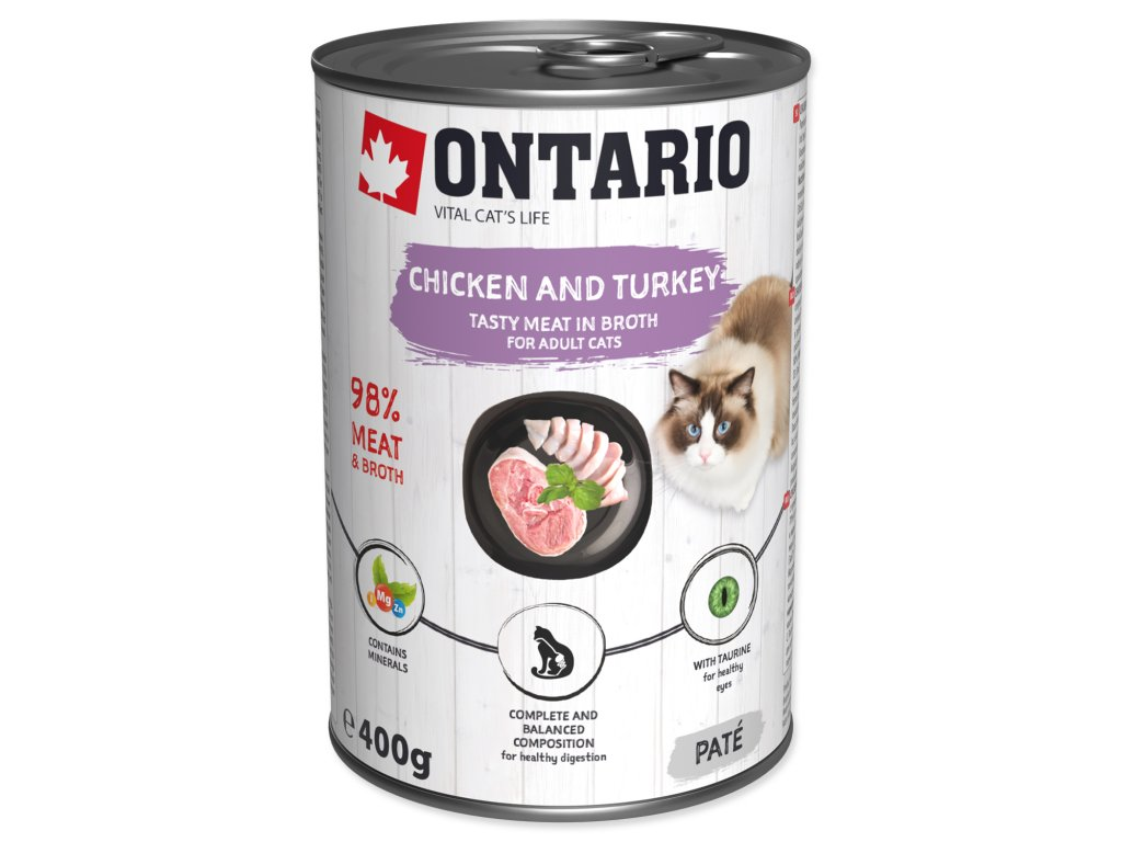 Konzerva ONTARIO Cat Chicken, Turkey, Salmon Oil
