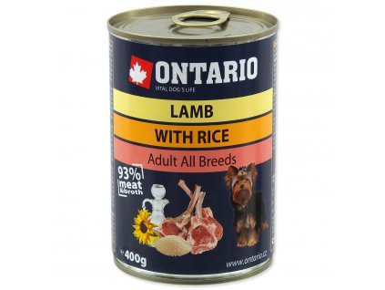 Konzerva ONTARIO Dog Lamb, Rice and Sunflower Oil