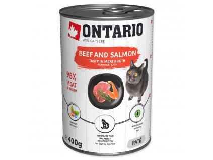 Konzerva ONTARIO Cat Beef, Salmon, Sunflower Oil