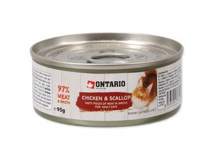 Konzerva ONTARIO Cat Chicken Pieces + Scallop 95g