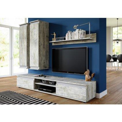 Obývací stěna v dekoru bílá borovice v kombinaci se šedou barvou KN1099
