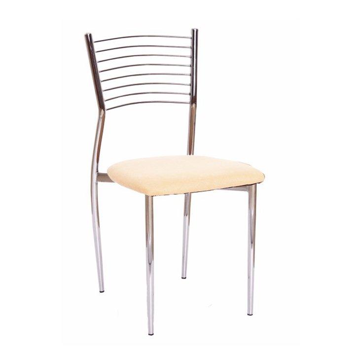 Jídelní židle z béžové ekokůže a chromového opěradla TK2044