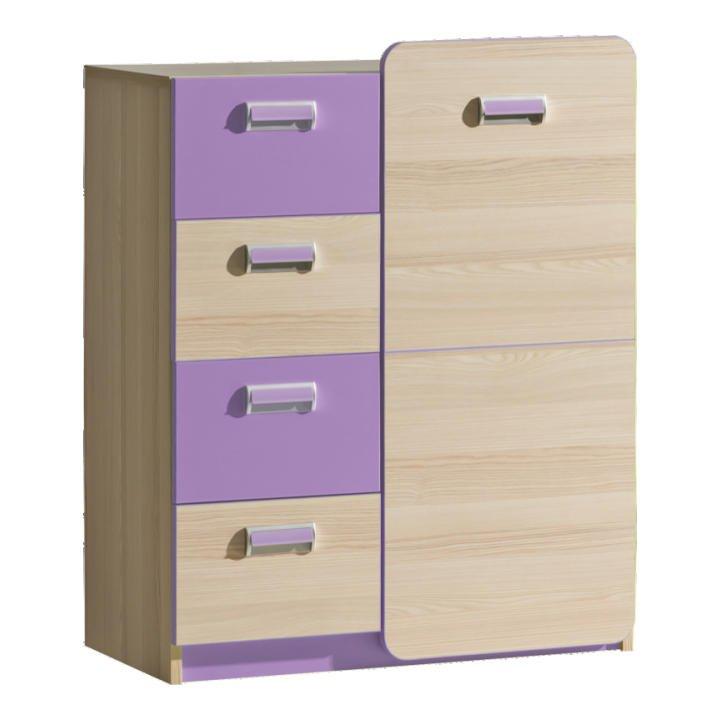 Komoda, 1 dveřová se 4 zásuvkami, jasan/fialová, EGO L6 TEMPO KONDELA