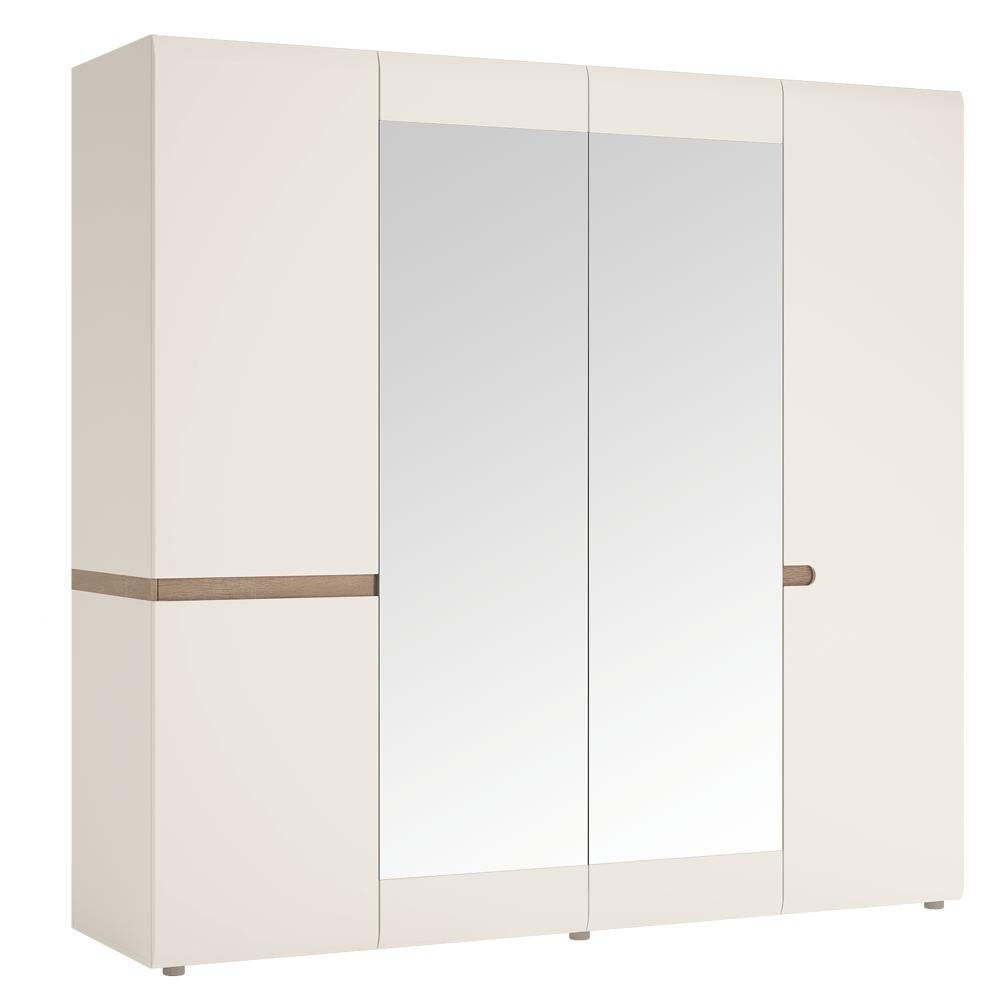 Skříň čtyřdveřová v luxusní bílé barvě ve vysokém lesku TK026 TYP 23