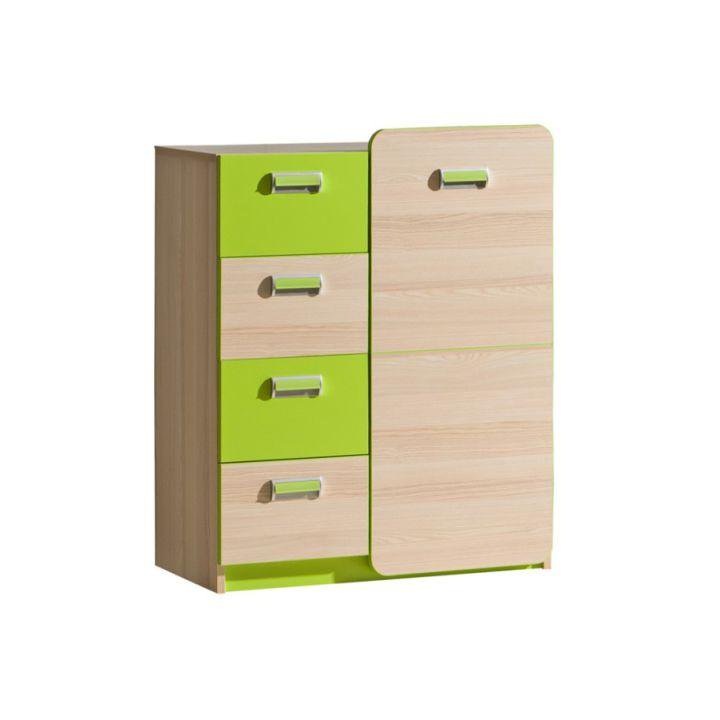 Komoda, 1 dveřová se 4 zásuvkami, jasan / zelená, EGO L6 TEMPO KONDELA