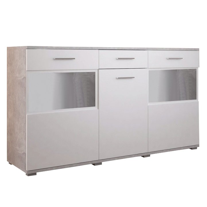 Komoda třídveřová se zásuvkami a vitrínami v dekoru bílá a beton světlý TK3220