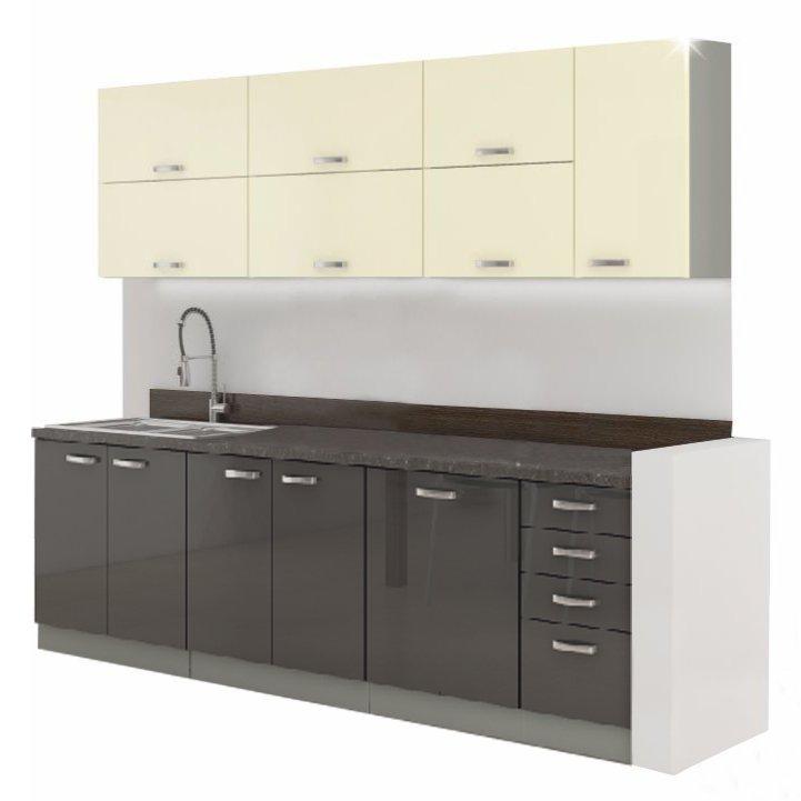 Kuchyňská linka 260 cm krémová a šedá vysoký lesk DOPRA