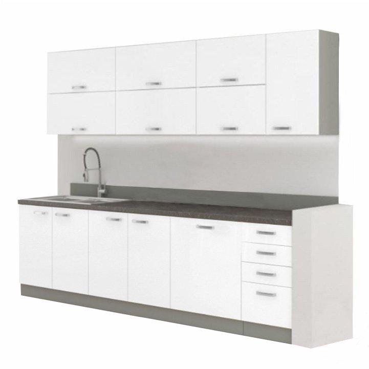 Kuchyňská linka 260 cm bílá vysoký lesk DOPRA