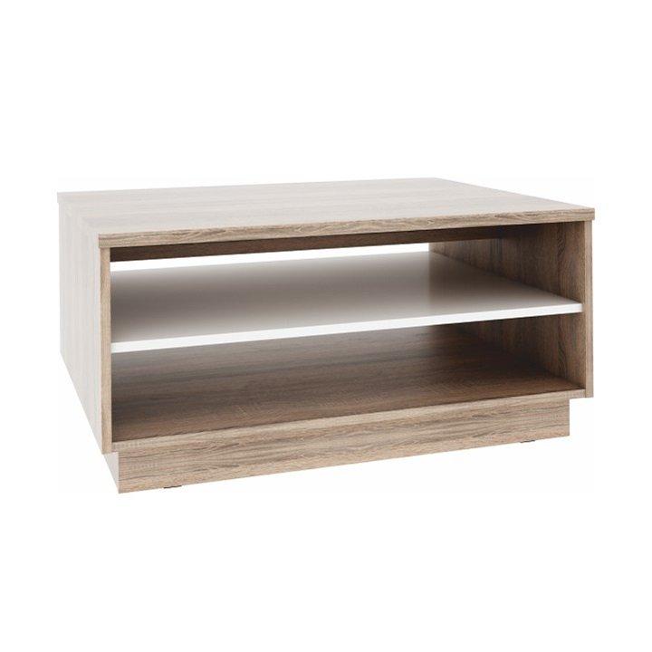 Šikovný konferenční stolek v dekoru dub sonoma s bílým detailem a úložným prostorem TK130