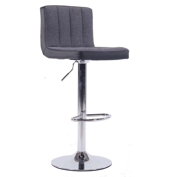 Otočná barová židle se sedákem v šedé látce a černé ekokůži TK2003