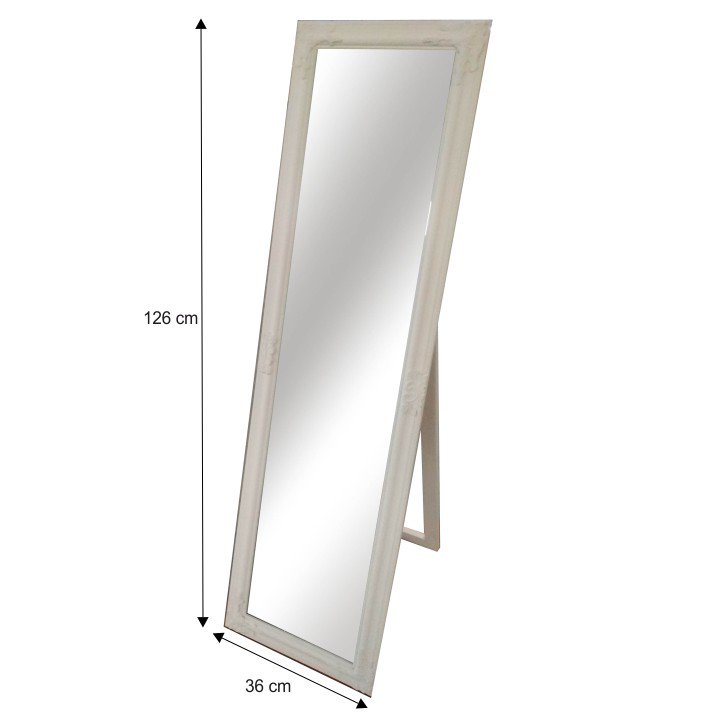 Zrcadlo s dřevěným rámem smetanové barvy MALKIA TYP 12