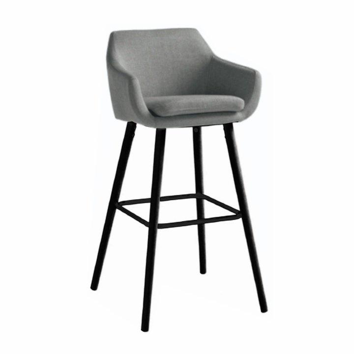 Barová židle čalouněná šedohnědá látka podnož černá dřevo TK3179