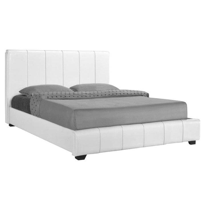 Manželská postel bílá ekokůže 160x200 TK4022