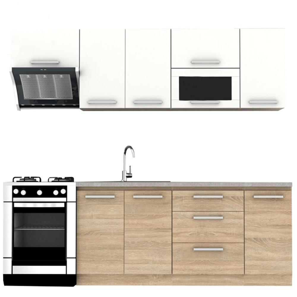 Kuchyňská linka 240 cm v kombinaci bílá a dub sonoma TK3306