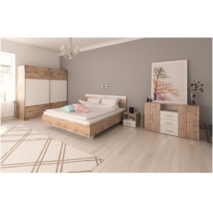 Ložnicový komplet (postel 180x200 cm) dub Wotan a bílá TK3132