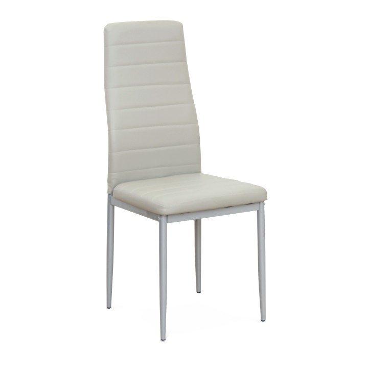 Jídelní židle z šedé ekokůže s kovovou konstrukcí TK2038