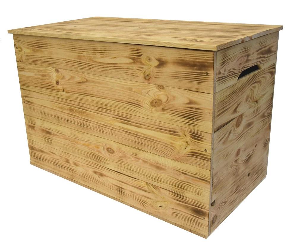 Dřevěná bedna opalovaná 70x38 cm s víkem