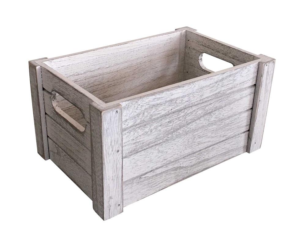 Dřevěná bedýnka 41x21 cm WHITE WASH