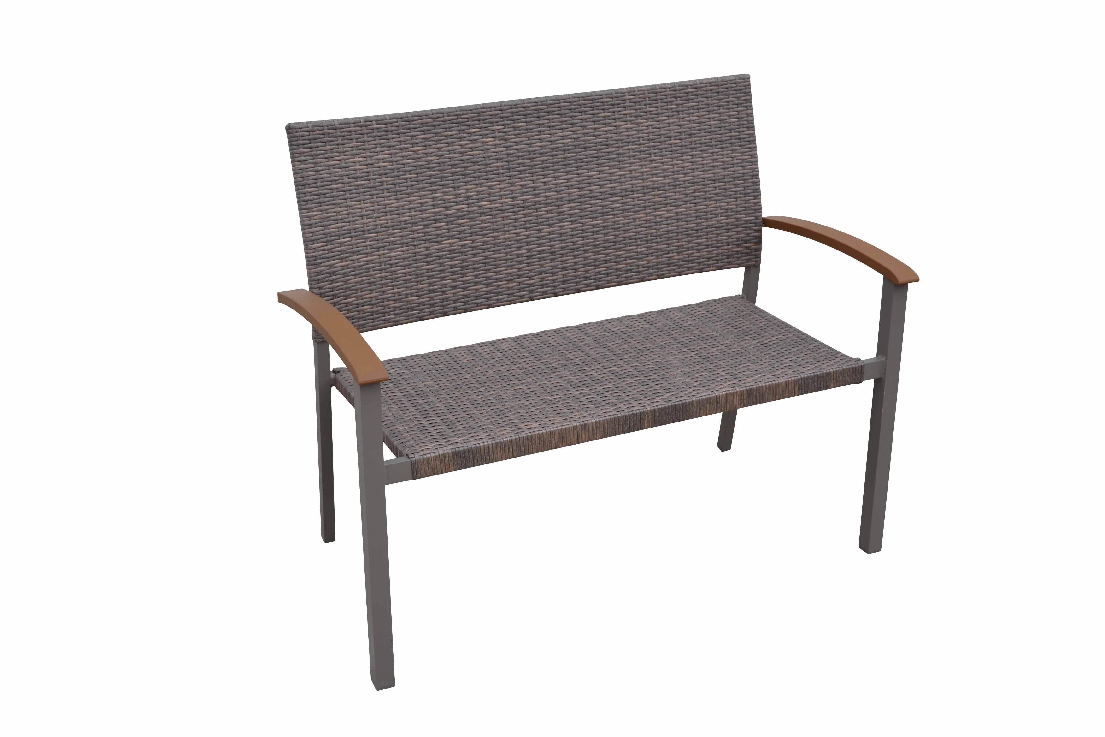 Zahradní lavice stohovatelná umělý ratan CALVIN III béžová
