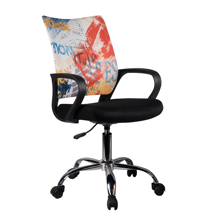 Otočná kancelářská židle, černá / vzor, STREET