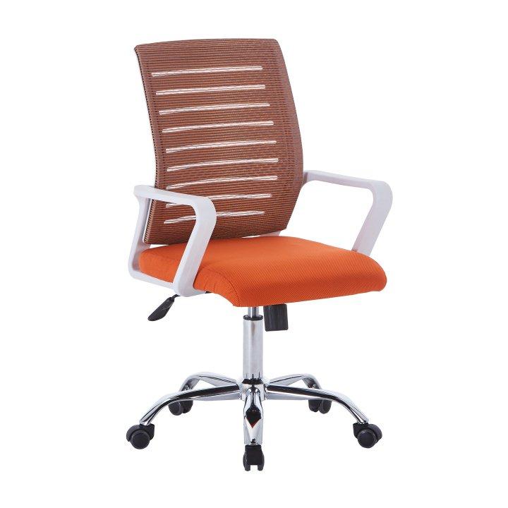 Levně Kancelářske kreslo, biela/oranžová, CAGE