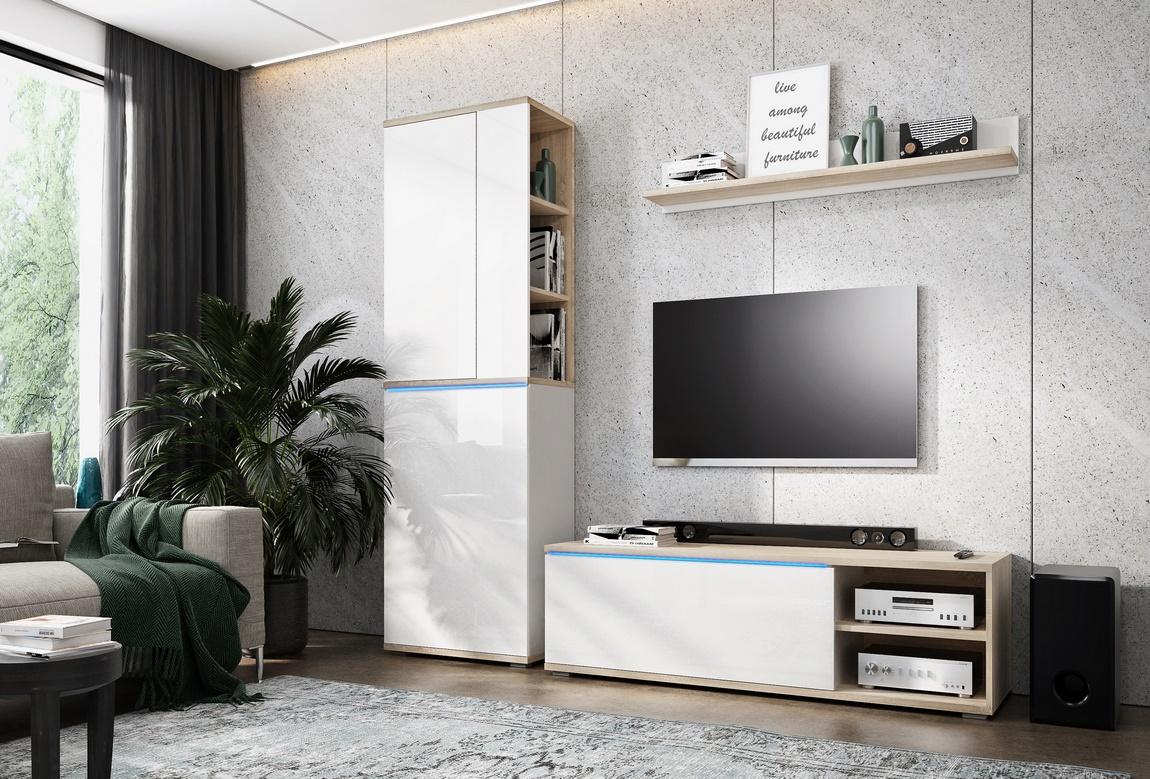 Obývací stěna OTTAWA sonoma/bílá mat