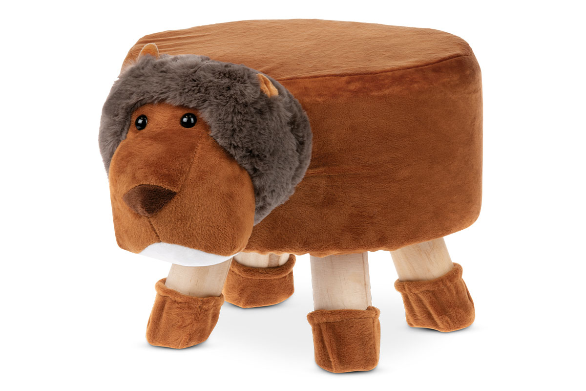 Taburet - lev, terracottová látka, dřevěné nohy