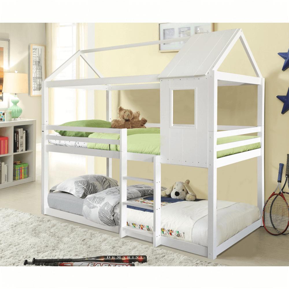 Montessori patrová postel, bílá, 90x200, Atrisa