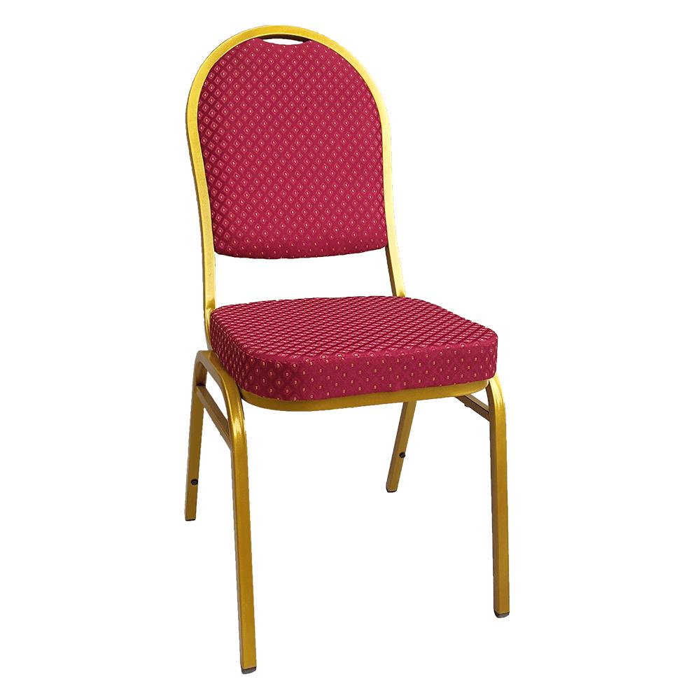 Židle, stohovatelná, látka červená/zlatý nátěr, JEFF 3 NEW