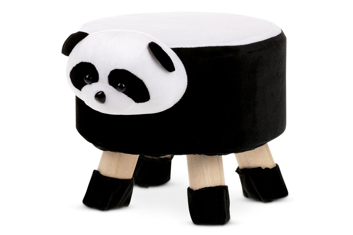 Taburet - panda, bílá a černá látka, dřevěné nohy