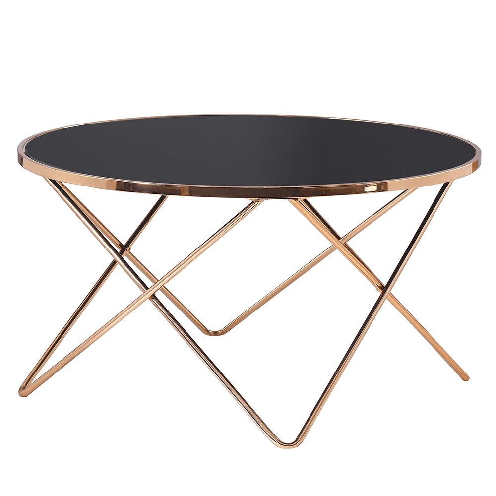 Levně Konferenční stolek, rose gold chrom růžová/černá, ROSALO