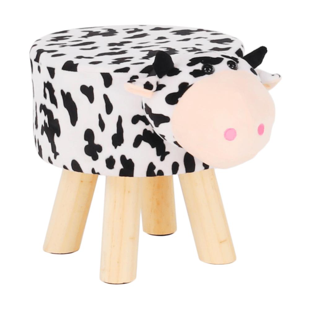 Taburet ve tvaru kravičky, látka Velvet bílá / černá / přírodní, MOLLY