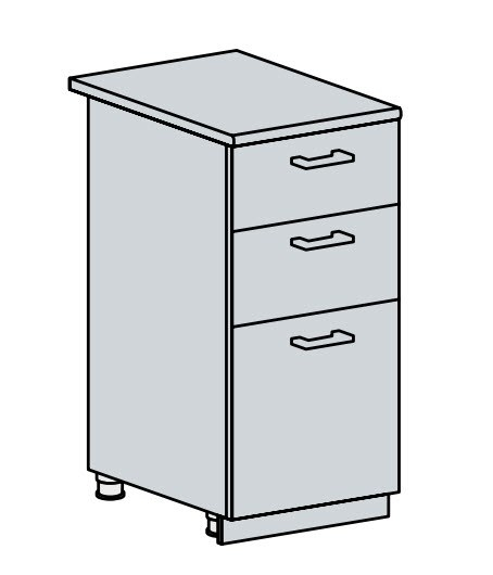 Kuchyňská linka VERONA jasan šimo na míru 40D3S d skříňka 3-zásuvková VERONA: jasan šimo