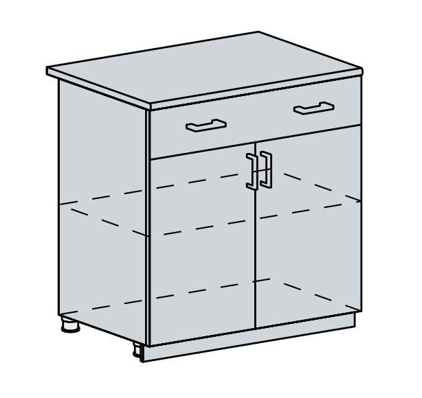 Kuchyňská linka VALERIA, více barev, na míru 80D1S2 d skříňka 2-dveřová se zásuvkou VALERIA: bk/bílá lesk