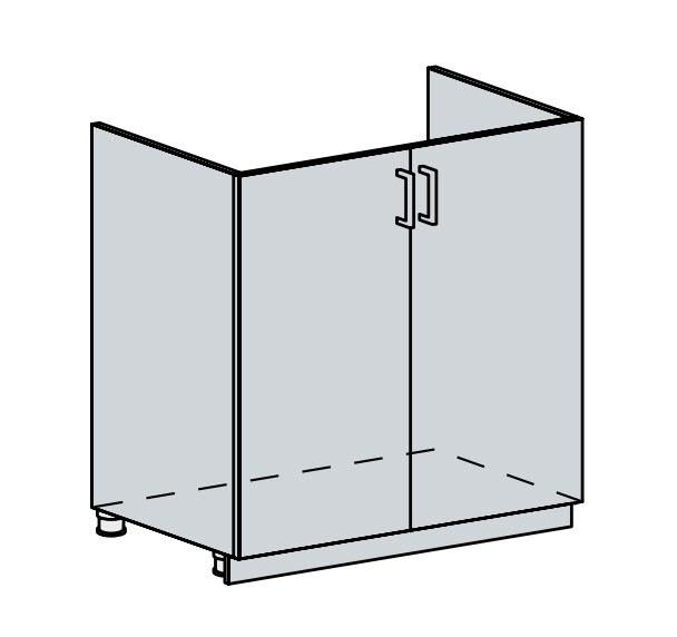 Kuchyňská linka VALERIA, více barev, na míru 80DZ d skříňka 2-dveřová pod dřez VALERIA: wk/bílá lesk