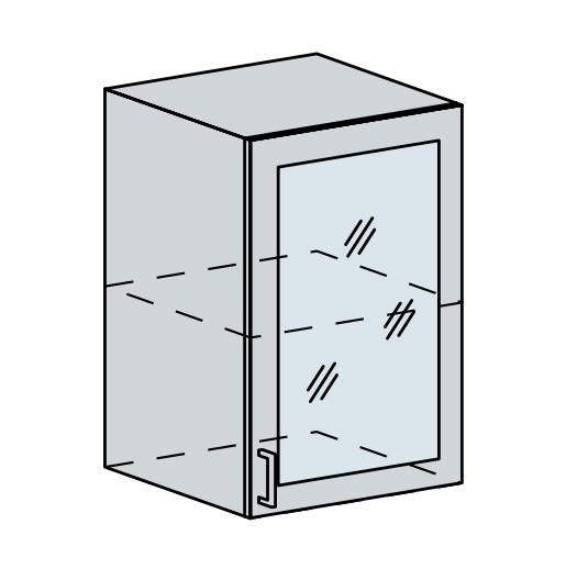 Kuchyňská linka VALERIA, více barev, na míru 50HS h vitrína 1-dveřová VALERIA: wk/bílá lesk