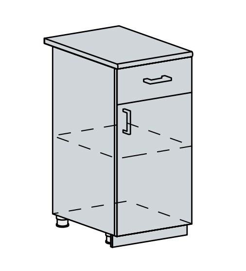 Kuchyňská linka VALERIA, více barev, na míru 40D1S d skříňka 1-dveřová se zásuvkou VALERIA: wk/wenge
