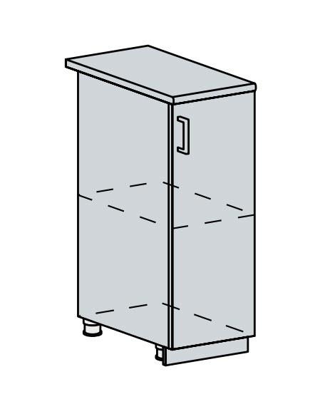 Kuchyňská linka VALERIA, více barev, na míru 30D d skříňka 1-dveřová VALERIA: wk/bílá lesk