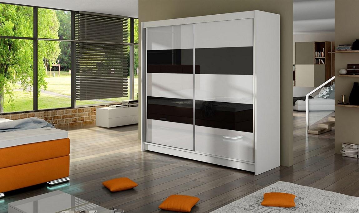 Šatní skříň 180 cm s posuvnými dveřmi se skly v bílé a černé barvě s korpusem v bílé barvě typ IV KN