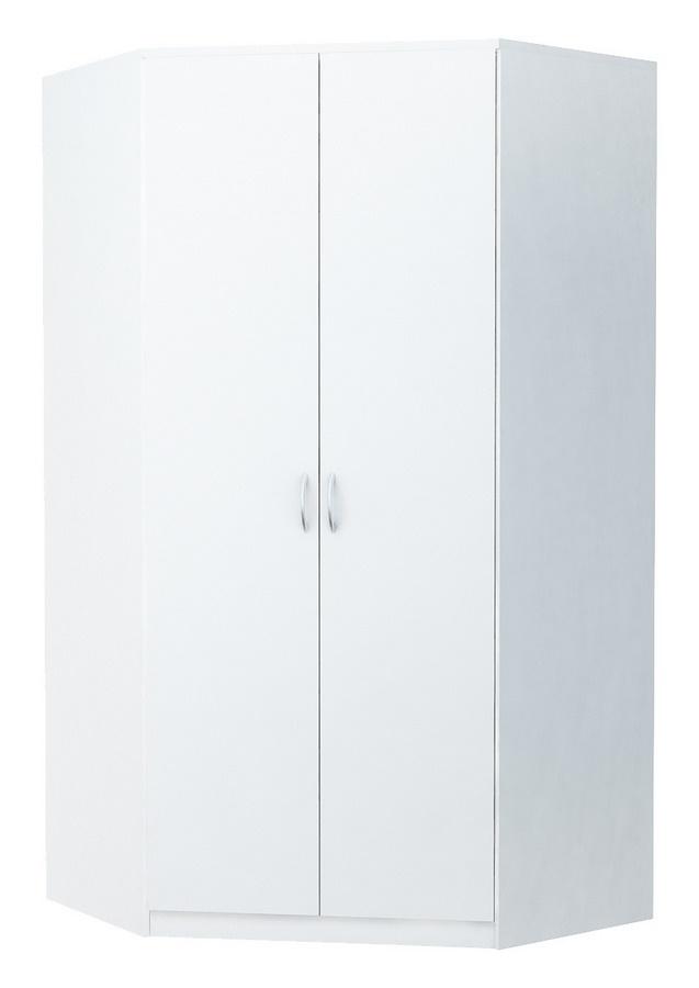 Rohová šatní skříň 106 cm v bílé matně barvě KN838