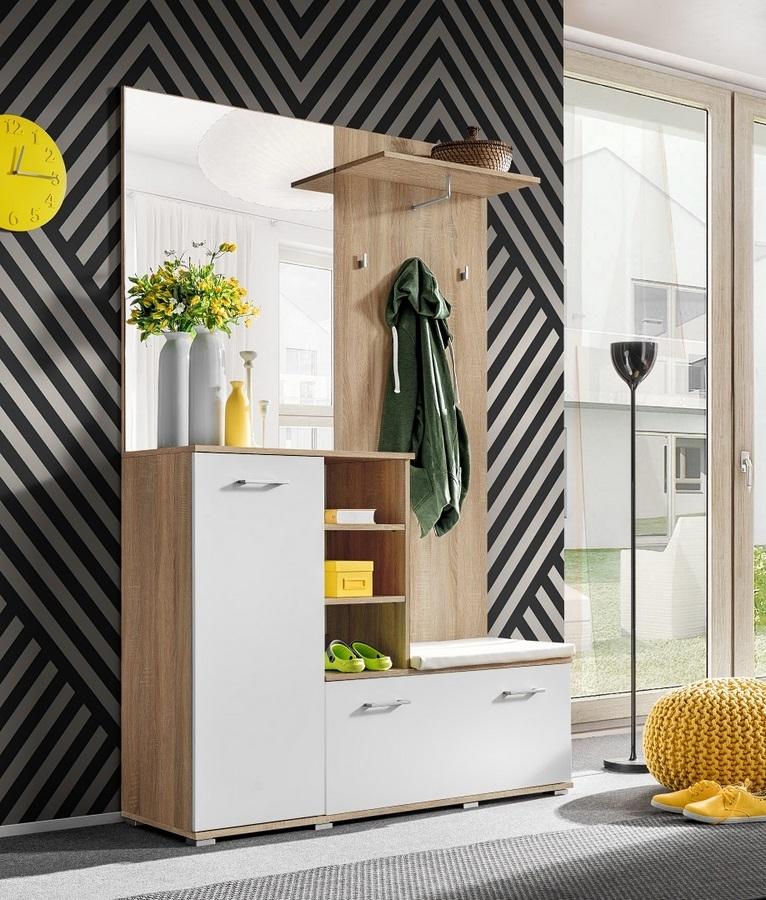 Předsíňová stěna v bílé matné barvě a korpusem dub sonoma se zrcadlem KN1177