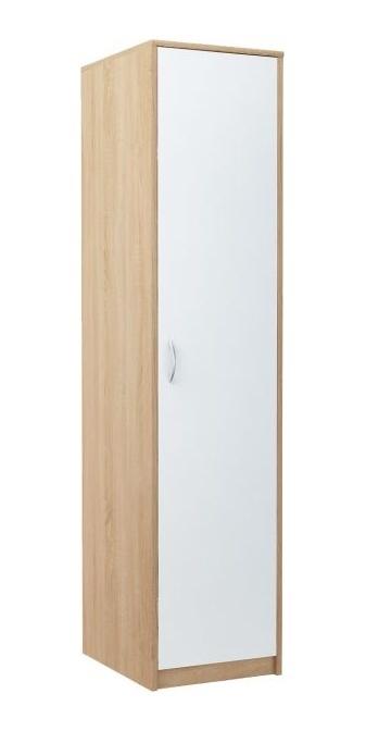 Úzká šatní skříň 45 cm s bílými dveřmi a korpusem v dekoru dub sonoma KN839