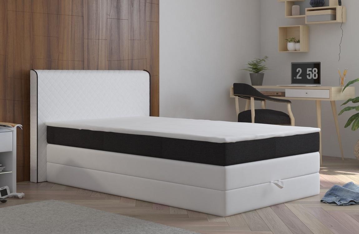 Manželská postel 140x200 cm v bílé barvě s černým pruhem s matrací a úložným prostorem KN1100