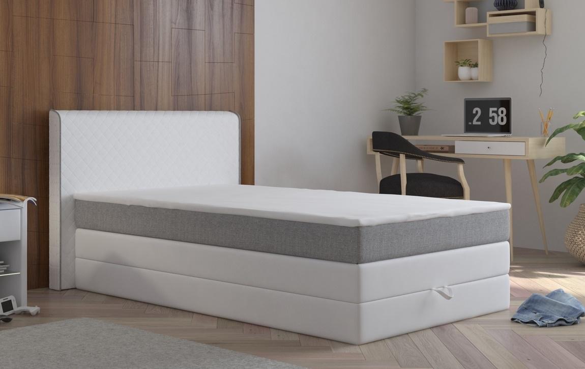 Manželská postel 140x200 cm v bílé barvě se šedým pruhem s matrací a úložným prostorem KN1100