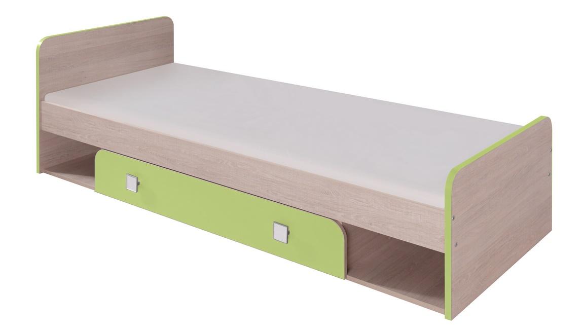 Dětská postel 80x200 cm v dekoru dub se zelenou zásuvkou typ D9 KN741